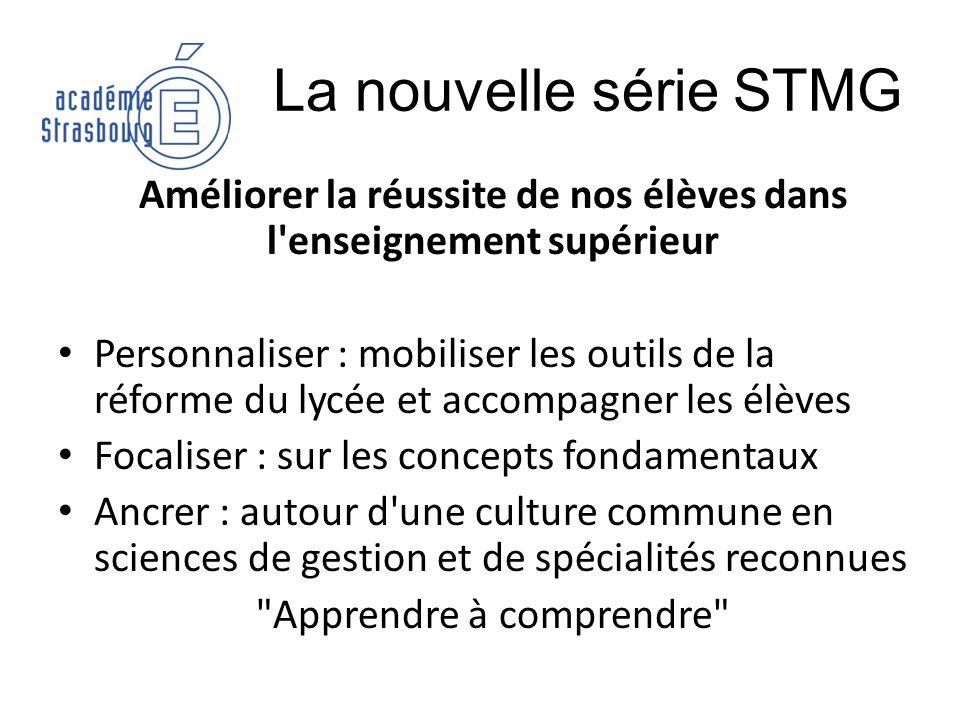 La nouvelle série STMG Améliorer la réussite de nos élèves dans l'enseignement supérieur Personnaliser : mobiliser les outils de la réforme du lycée e