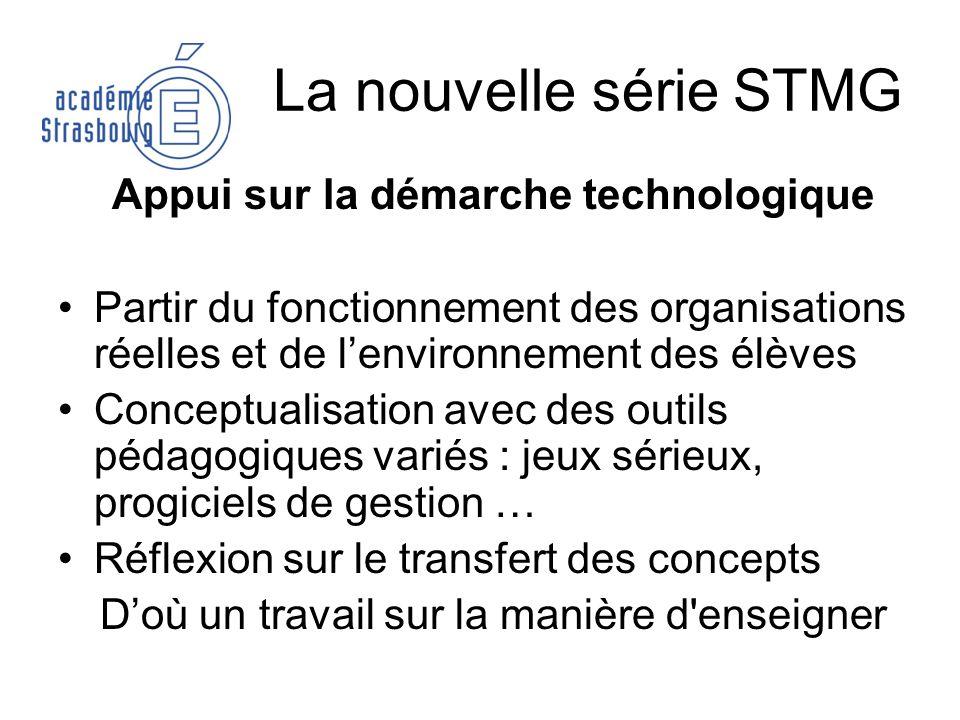 La nouvelle série STMG Appui sur la démarche technologique Partir du fonctionnement des organisations réelles et de lenvironnement des élèves Conceptu
