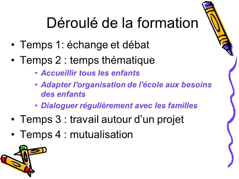Déroulé de la formation Temps 1: échange et débat Temps 2 : temps thématique Accueillir tous les enfants Adapter l'organisation de l'école aux besoins