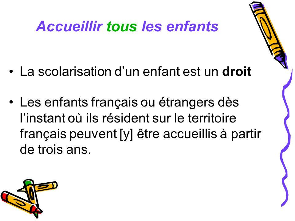 Accueillir tous les enfants La scolarisation dun enfant est un droit Les enfants français ou étrangers dès linstant où ils résident sur le territoire