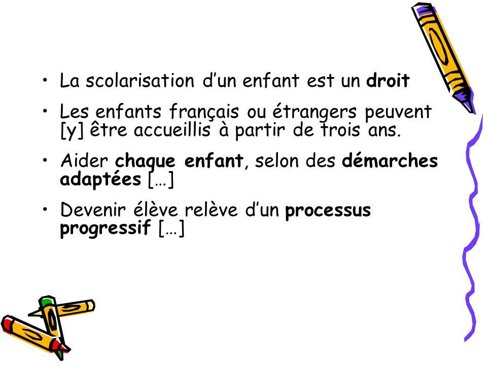 La scolarisation dun enfant est un droit Les enfants français ou étrangers peuvent [y] être accueillis à partir de trois ans. Aider chaque enfant, sel
