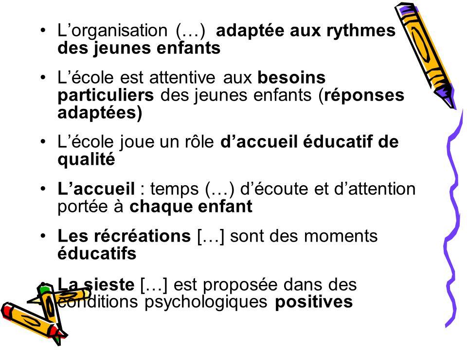 Lorganisation (…) adaptée aux rythmes des jeunes enfants Lécole est attentive aux besoins particuliers des jeunes enfants (réponses adaptées) Lécole j