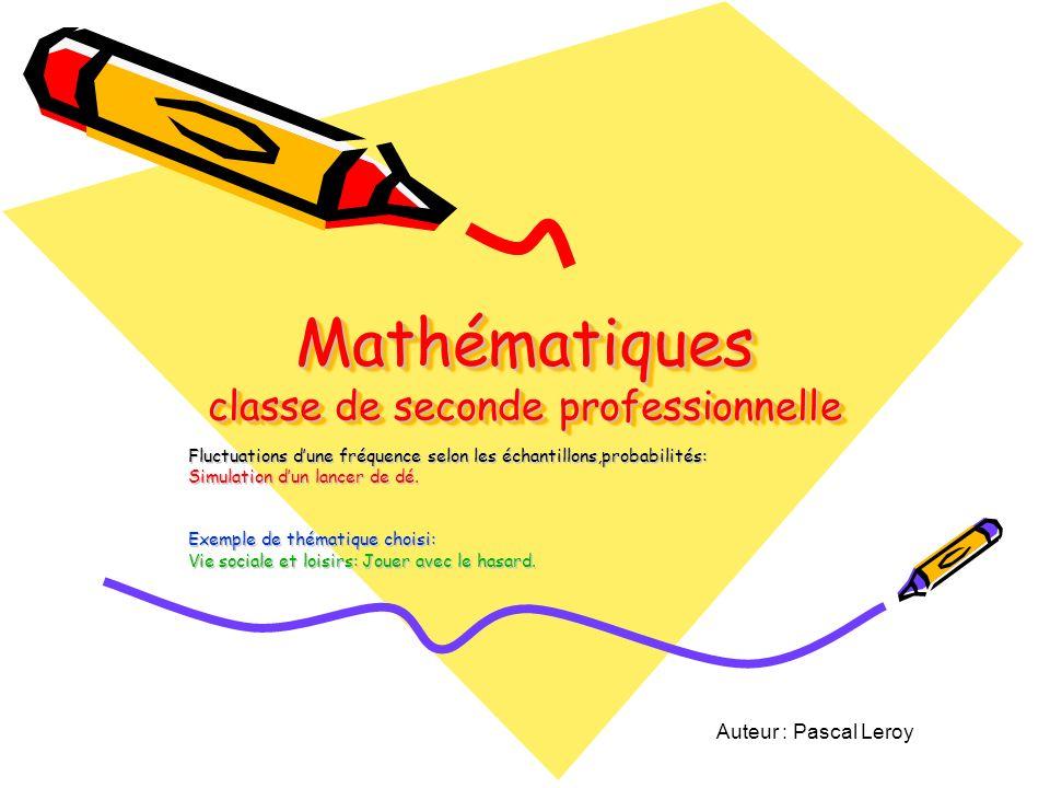 Mathématiques classe de seconde professionnelle Fluctuations dune fréquence selon les échantillons,probabilités: Simulation dun lancer de dé.