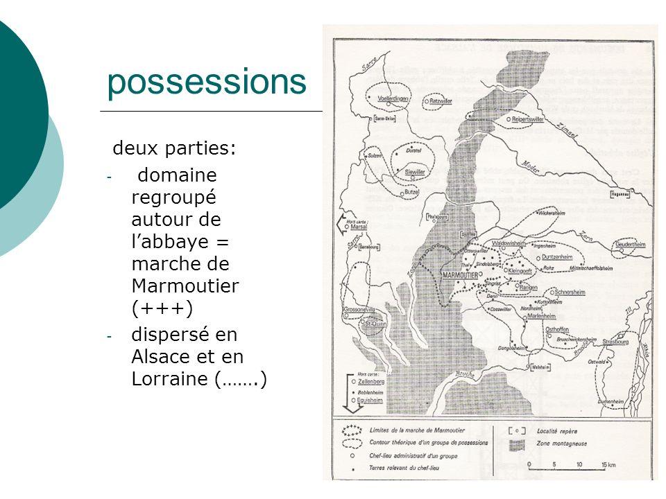 possessions deux parties: - domaine regroupé autour de labbaye = marche de Marmoutier (+++) - dispersé en Alsace et en Lorraine (…….)
