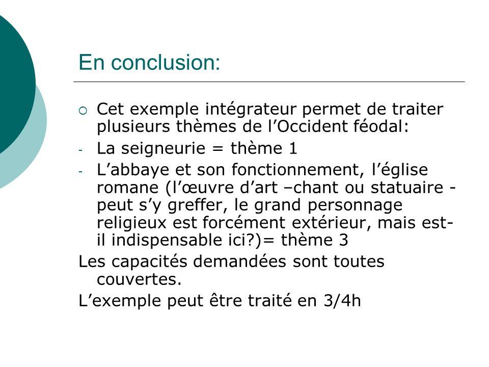 En conclusion: Cet exemple intégrateur permet de traiter plusieurs thèmes de lOccident féodal: - La seigneurie = thème 1 - Labbaye et son fonctionneme