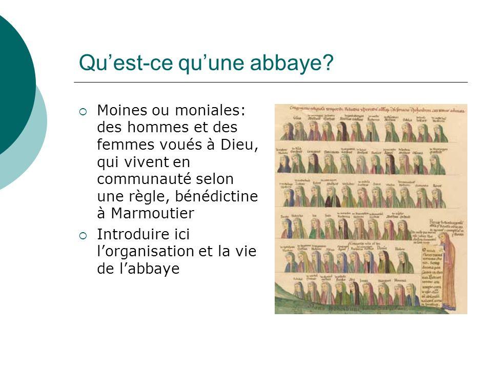 Quest-ce quune abbaye? Moines ou moniales: des hommes et des femmes voués à Dieu, qui vivent en communauté selon une règle, bénédictine à Marmoutier I