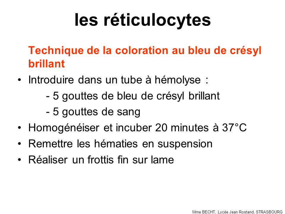 les réticulocytes Technique de la coloration au bleu de crésyl brillant Introduire dans un tube à hémolyse : - 5 gouttes de bleu de crésyl brillant -