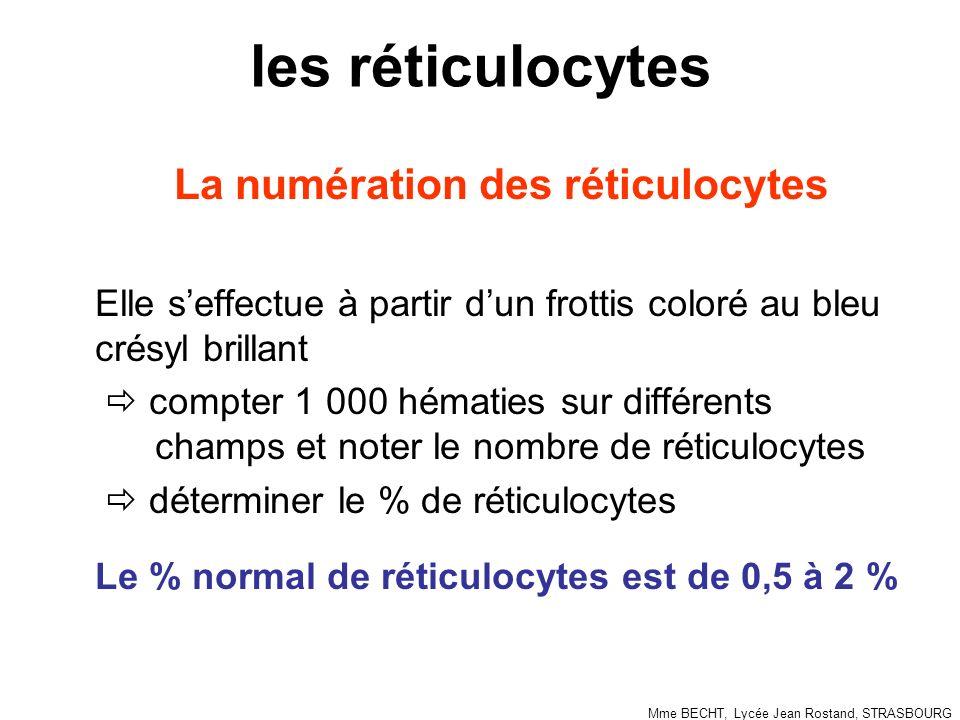 les réticulocytes La numération des réticulocytes Elle seffectue à partir dun frottis coloré au bleu crésyl brillant compter 1 000 hématies sur différents champs et noter le nombre de réticulocytes déterminer le % de réticulocytes Le % normal de réticulocytes est de 0,5 à 2 % Mme BECHT, Lycée Jean Rostand, STRASBOURG
