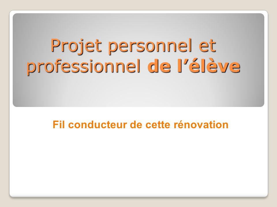 Projet personnel et professionnel de lélève Fil conducteur de cette rénovation