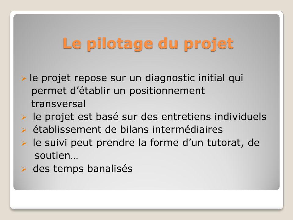Le pilotage du projet le projet repose sur un diagnostic initial qui permet détablir un positionnement transversal le projet est basé sur des entretie
