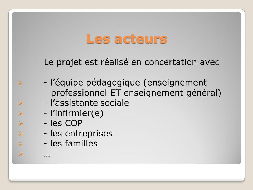 Les acteurs Le projet est réalisé en concertation avec - léquipe pédagogique (enseignement professionnel ET enseignement général) - lassistante social