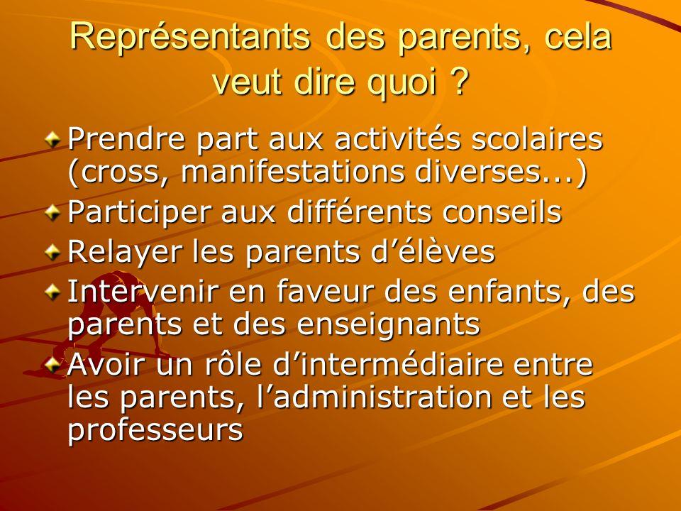 Représentants des parents, cela veut dire quoi ? Prendre part aux activités scolaires (cross, manifestations diverses...) Participer aux différents co