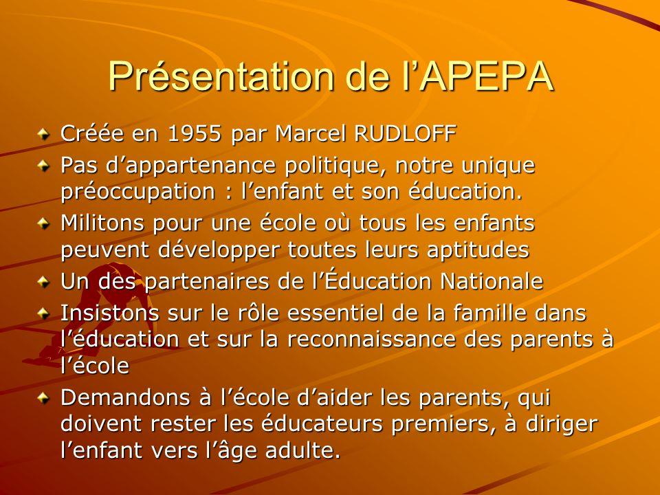 Présentation de lAPEPA Créée en 1955 par Marcel RUDLOFF Pas dappartenance politique, notre unique préoccupation : lenfant et son éducation. Militons p