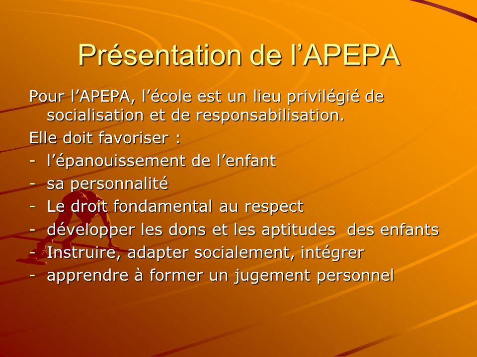Présentation de lAPEPA Pour lAPEPA, lécole est un lieu privilégié de socialisation et de responsabilisation. Elle doit favoriser : -lépanouissement de