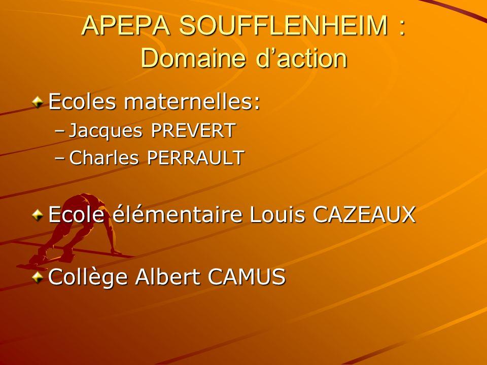APEPA SOUFFLENHEIM : Domaine daction Ecoles maternelles: –Jacques PREVERT –Charles PERRAULT Ecole élémentaire Louis CAZEAUX Collège Albert CAMUS