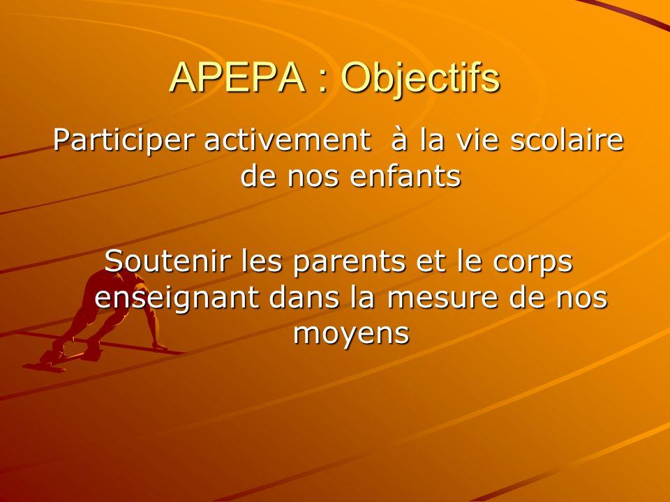 APEPA : Objectifs Participer activement à la vie scolaire de nos enfants Soutenir les parents et le corps enseignant dans la mesure de nos moyens