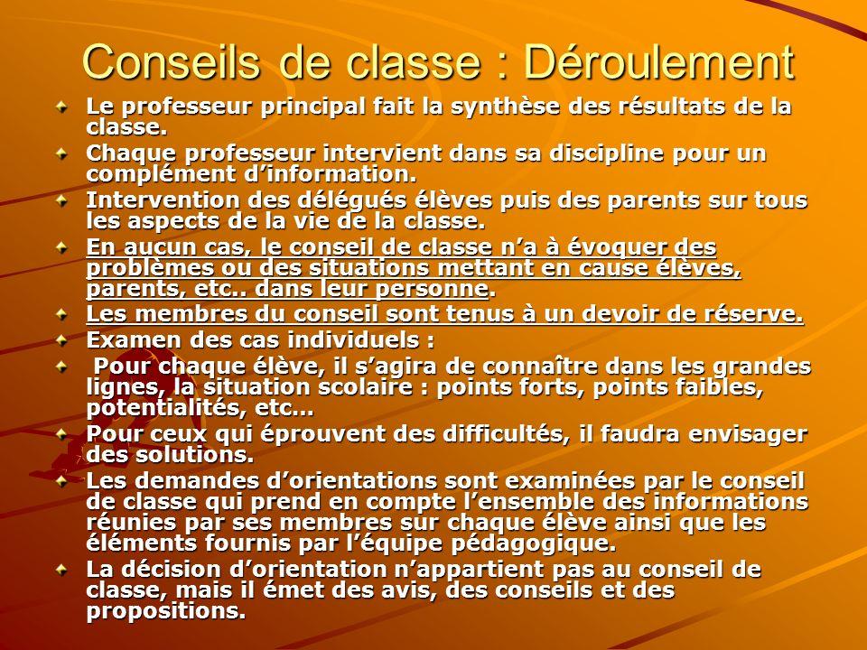 Conseils de classe : Déroulement Le professeur principal fait la synthèse des résultats de la classe. Chaque professeur intervient dans sa discipline