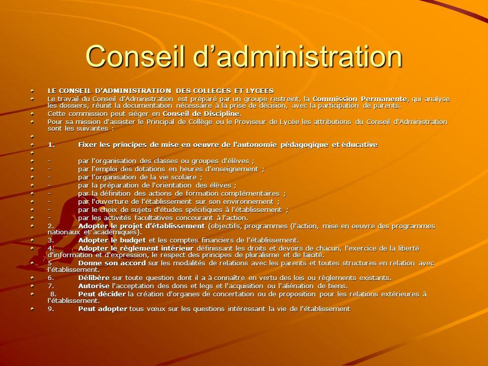 Conseil dadministration LE CONSEIL D'ADMINISTRATION DES COLLEGES ET LYCEES Le travail du Conseil d'Administration est préparé par un groupe restreint,