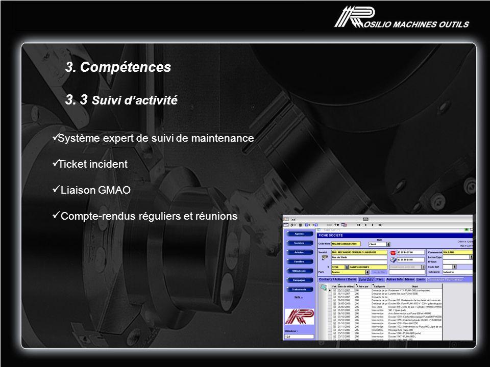 3. Compétences 3. 3 Suivi dactivité Système expert de suivi de maintenance Ticket incident Liaison GMAO Compte-rendus réguliers et réunions