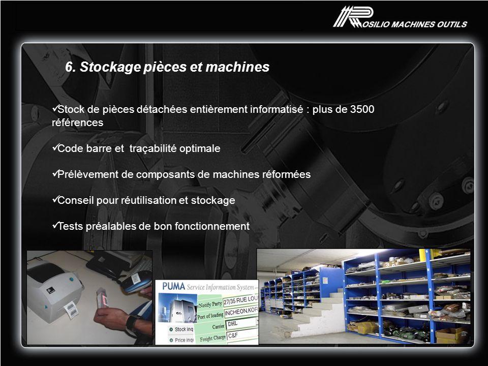 6. Stockage pièces et machines Stock de pièces détachées entièrement informatisé : plus de 3500 références Code barre et traçabilité optimale Prélèvem