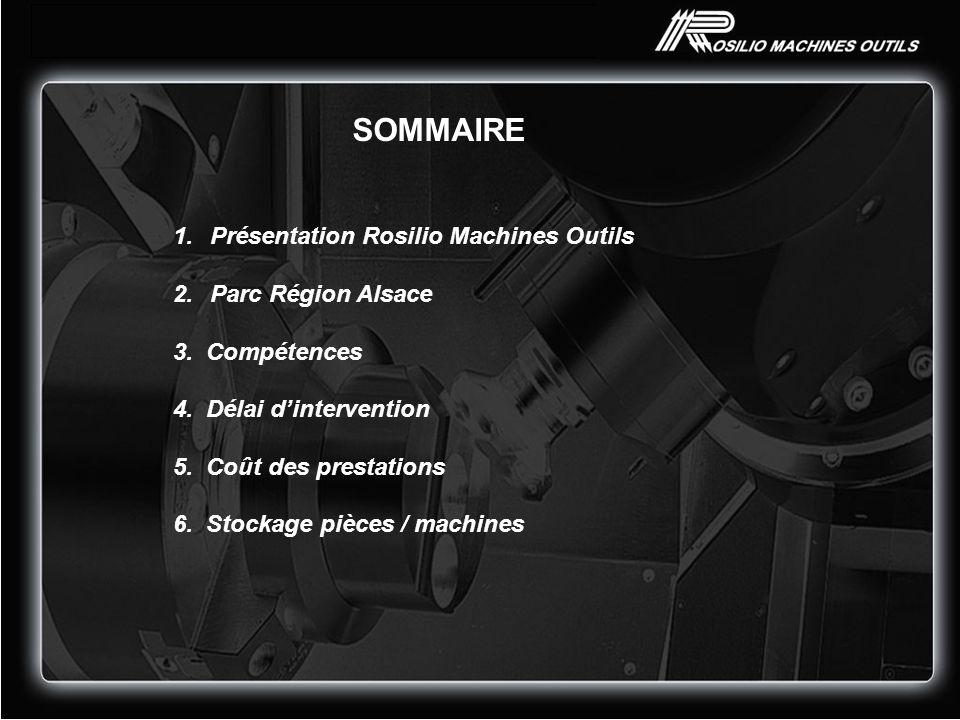 1.Présentation Rosilio Machines Outils 2.Parc Région Alsace 3. Compétences 4. Délai dintervention 5. Coût des prestations 6. Stockage pièces / machine