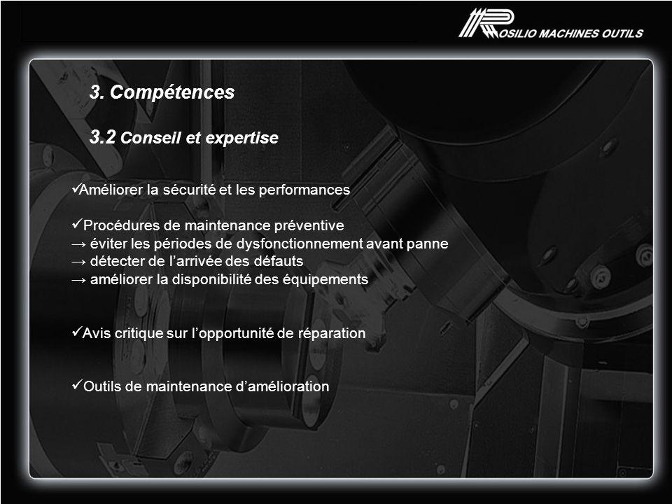 3. Compétences 3.2 Conseil et expertise Améliorer la sécurité et les performances Procédures de maintenance préventive éviter les périodes de dysfonct