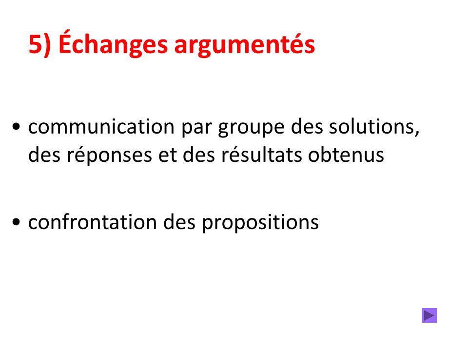 5) Échanges argumentés communication par groupe des solutions, des réponses et des résultats obtenus confrontation des propositions