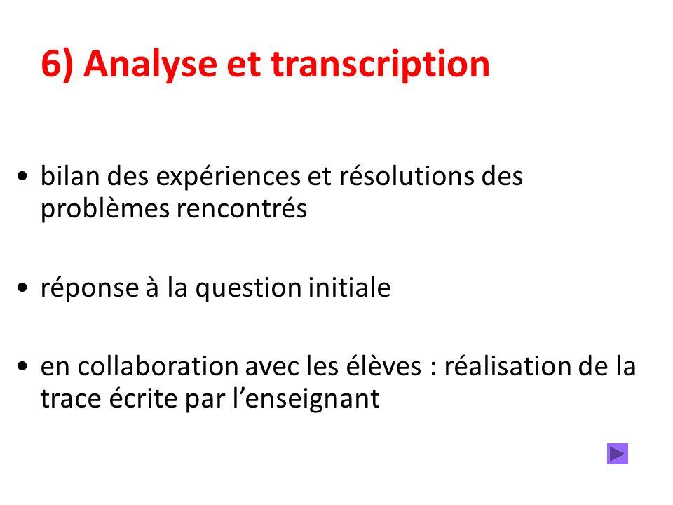6) Analyse et transcription bilan des expériences et résolutions des problèmes rencontrés réponse à la question initiale en collaboration avec les élèves : réalisation de la trace écrite par lenseignant
