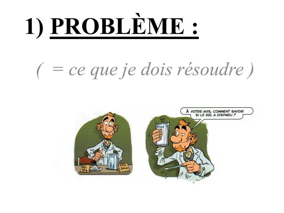 1) PROBLÈME : ( = ce que je dois résoudre )