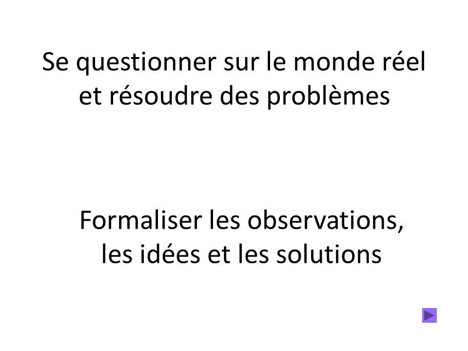 Se questionner sur le monde réel et résoudre des problèmes Formaliser les observations, les idées et les solutions