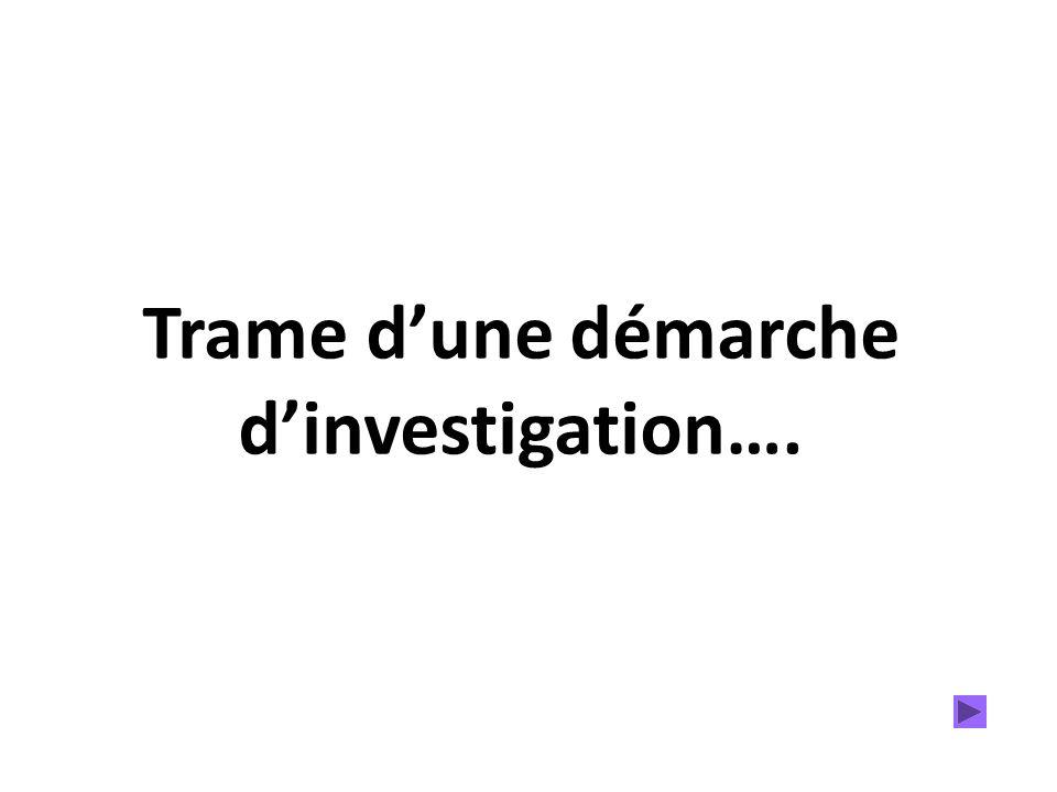 Trame dune démarche dinvestigation….