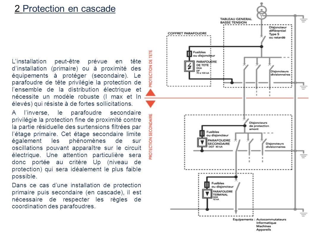 2 Protection en cascade Linstallation peut-être prévue en tête dinstallation (primaire) ou à proximité des équipements à protéger (secondaire). Le par