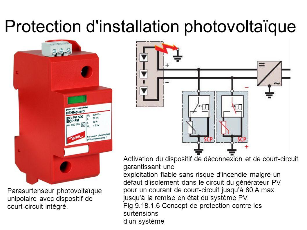 Protection d'installation photovoltaïque Parasurtenseur photovoltaïque unipolaire avec dispositif de court-circuit intégré. Activation du dispositif d