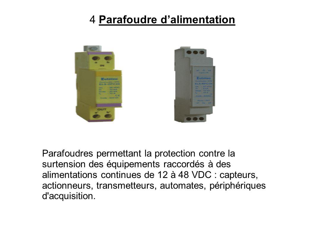 4 Parafoudre dalimentation Parafoudres permettant la protection contre la surtension des équipements raccordés à des alimentations continues de 12 à 4