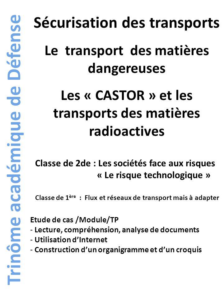 Trinôme académique de Défense Sécurisation des transports Le transport des matières dangereuses Les « CASTOR » et les transports des matières radioact