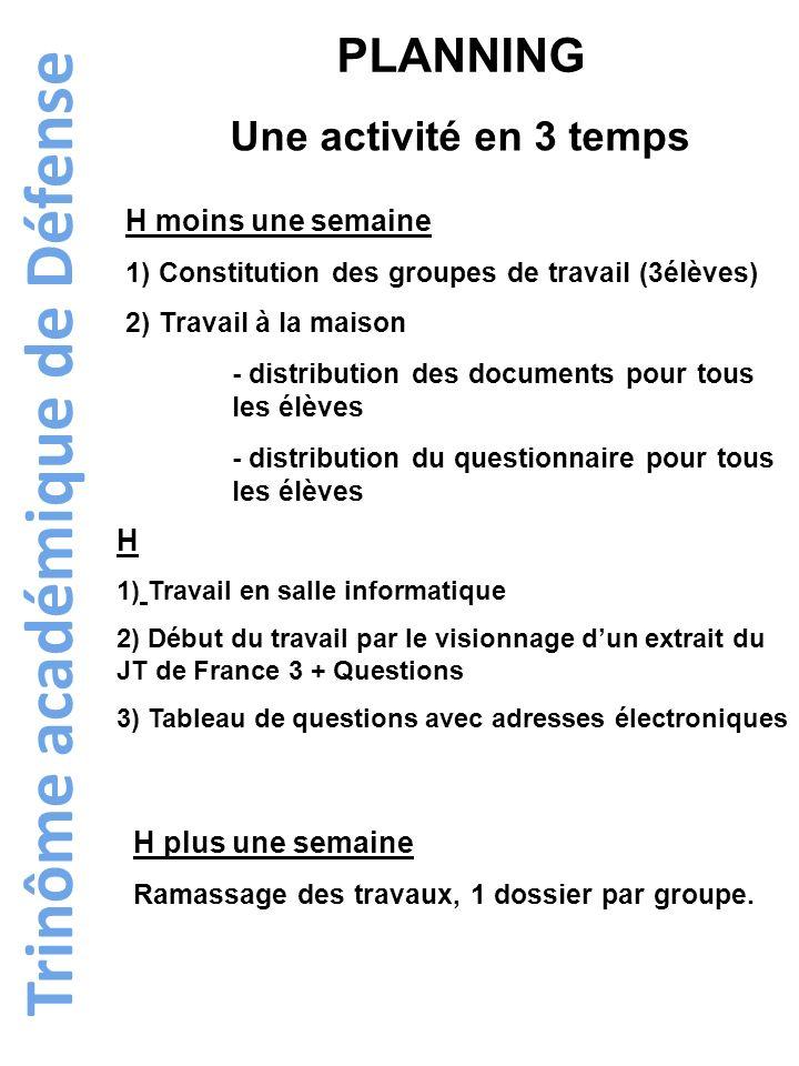 Trinôme académique de Défense PLANNING Une activité en 3 temps H moins une semaine 1) Constitution des groupes de travail (3élèves) 2) Travail à la ma
