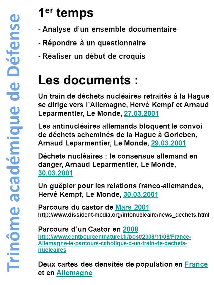 Trinôme académique de Défense 1 er temps - Analyse dun ensemble documentaire - Répondre à un questionnaire - Réaliser un début de croquis Les document