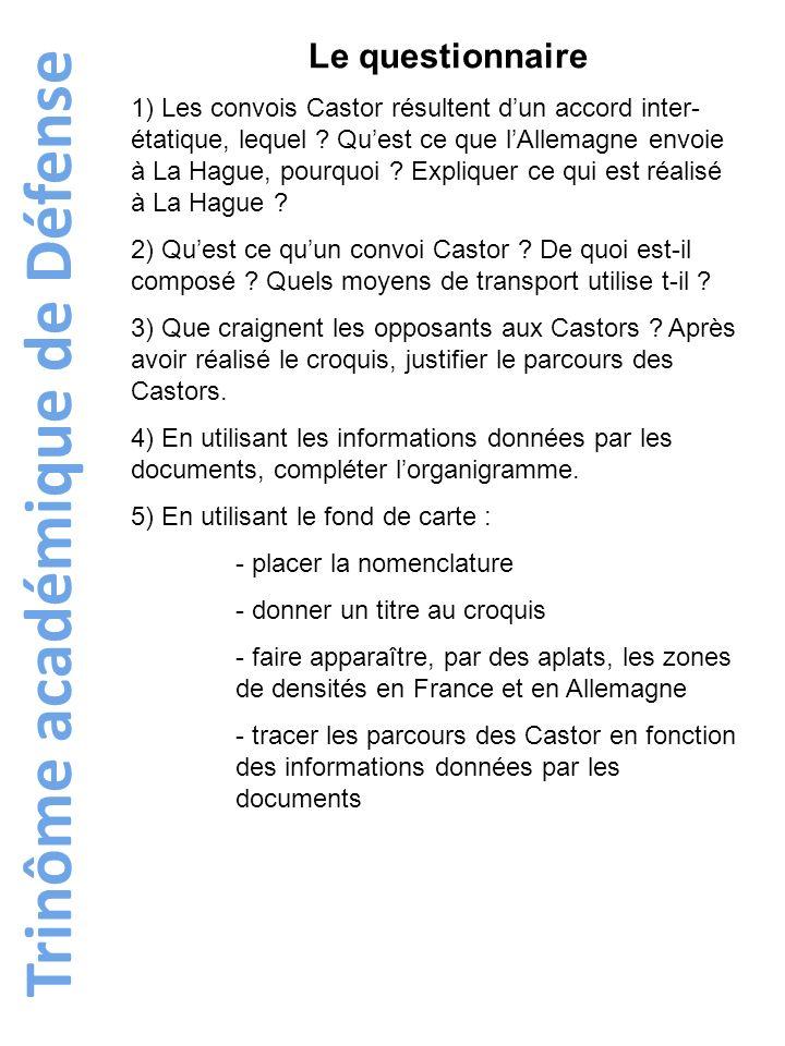 Trinôme académique de Défense Le questionnaire 1) Les convois Castor résultent dun accord inter- étatique, lequel ? Quest ce que lAllemagne envoie à L