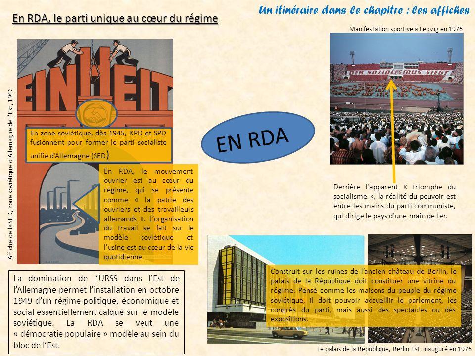 Un itinéraire dans le chapitre : les affiches Affiche de la SED, zone soviétique dAllemagne de lEst, 1946 Manifestation sportive à Leipzig en 1976 Le