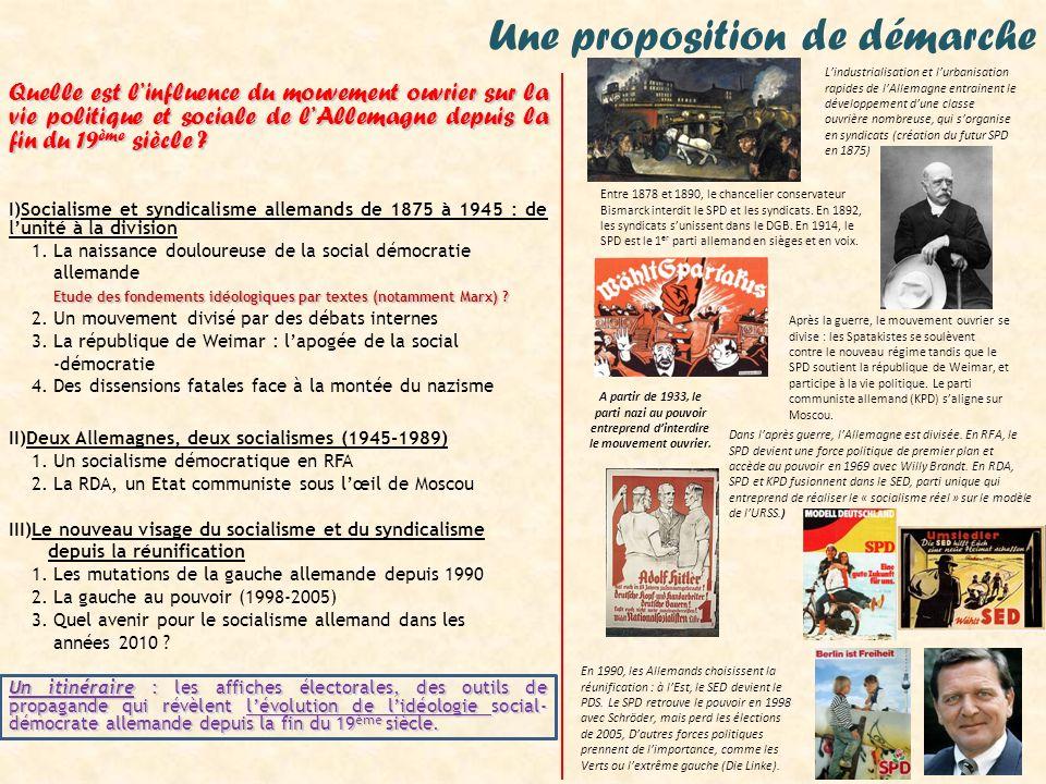 Repères Régime Politique Moucement social démocrate 1870 19181933 19451949 1990 DES NOTIONS-clés Cogestion, communisme, libéralisme, marxisme, réfome, révolution, social- démocratie, socialisme, syndicalisme UNE TEMPORALITÉ : Lhistoire politique de lAllemagne depuis la fin du 19 ème siècle Karl MARX, théoricien du socialisme Rosa LUXEMBURG, leader de la révolution spartakiste DES ACTEURS : Quelques personnages clés de lhistoire du mouvement ouvrier en Allemagne depuis la fin du 19 ème siècle 1875 Fondation du SPD * * * 1918 Fondation du KPD Willy BRANDT Président du SPD de 1969 à 87, chancelier de la RFA de 1969 à 74 EMPIRE ALLEMAND REPUBLIQUE DE WEIMAR III ème REICH Occupation al liée ALLEMAGNE DIVISEE (RFA & RDA) ALLEMAGNE REUNIFIEE 1892 Fondation de la commission générale des syndicats * 1933 Interdiction du SPD et du KPD * 1946 Refondation du SPD (RFA) Fondation de la SED (RDA) * 1949 : Fondation de la DGB (RFA) * 1959 : Congrès de Bad Godesberg (RFA) 1969-1982 SPD au pouvoir (RFA) 1949-1989 : dictature du SED (RDA) * 1990 Tranformation du SED en PDS 1998-2005 Schröder (SPD) chancelier * 2003-2005 Lois Hartz (Agenda 2010) 1878-1890 Lois antisocialistes de Bismarck * 1918 Révolution Erich HONECKER, Leader du SED, dirige la RDA de 1976 à 89 Gerhard SCHRÖDER, membre du SPD, dirige lAllemagne réunifiée de 1998 à 2005