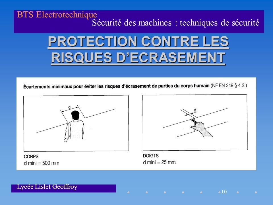10 Sécurité des machines : techniques de sécurité BTS Electrotechnique Lycée Lislet Geoffroy PROTECTION CONTRE LES RISQUES DECRASEMENT
