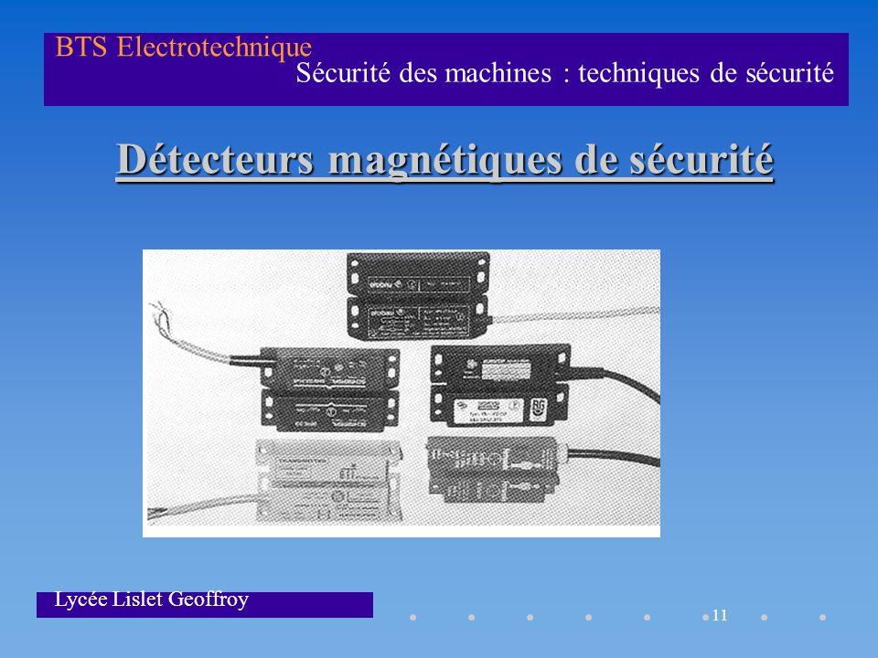 11 Sécurité des machines : techniques de sécurité BTS Electrotechnique Lycée Lislet Geoffroy Détecteurs magnétiques de sécurité