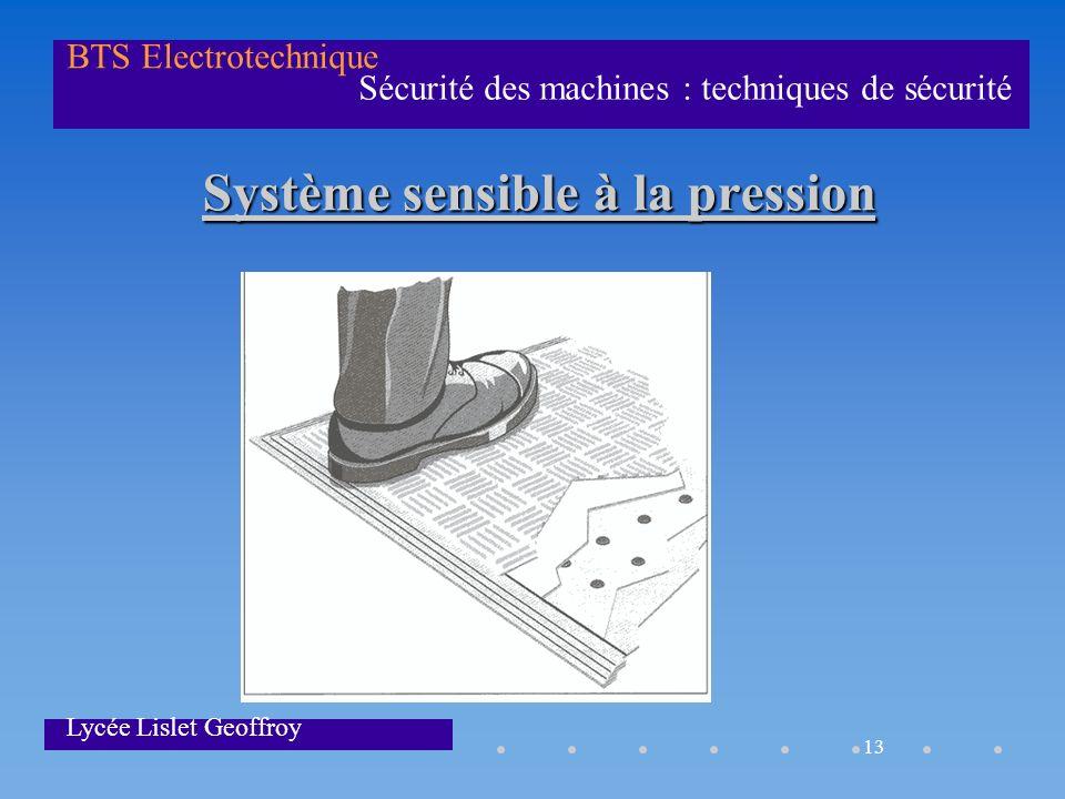 13 Sécurité des machines : techniques de sécurité BTS Electrotechnique Lycée Lislet Geoffroy Système sensible à la pression