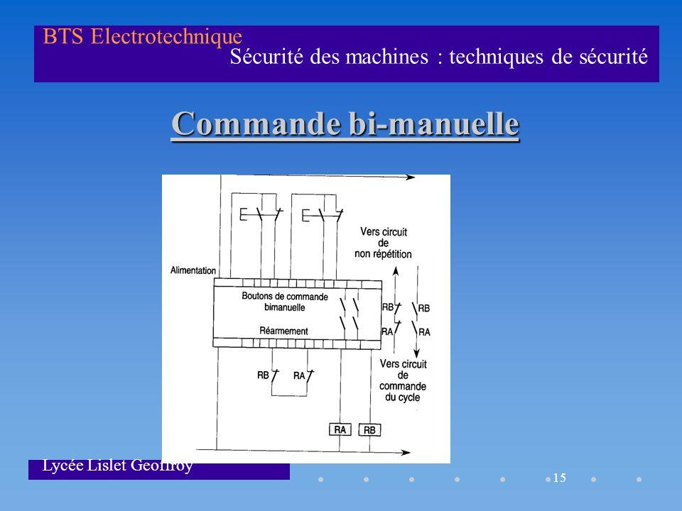 15 Sécurité des machines : techniques de sécurité BTS Electrotechnique Lycée Lislet Geoffroy Commande bi-manuelle