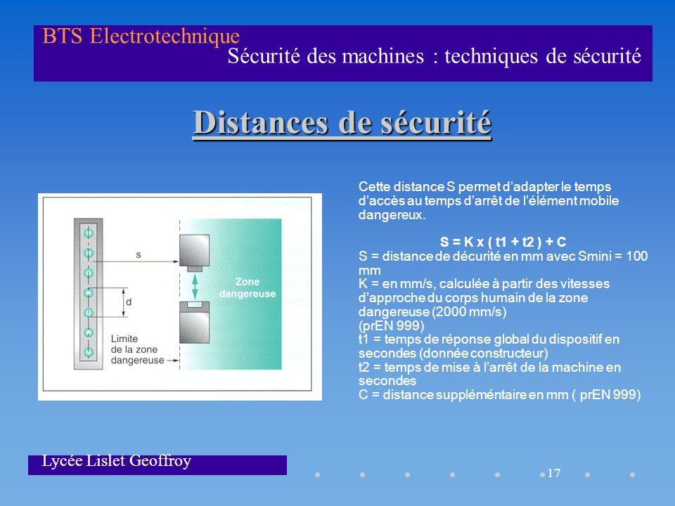 17 Sécurité des machines : techniques de sécurité BTS Electrotechnique Lycée Lislet Geoffroy Distances de sécurité Cette distance S permet dadapter le