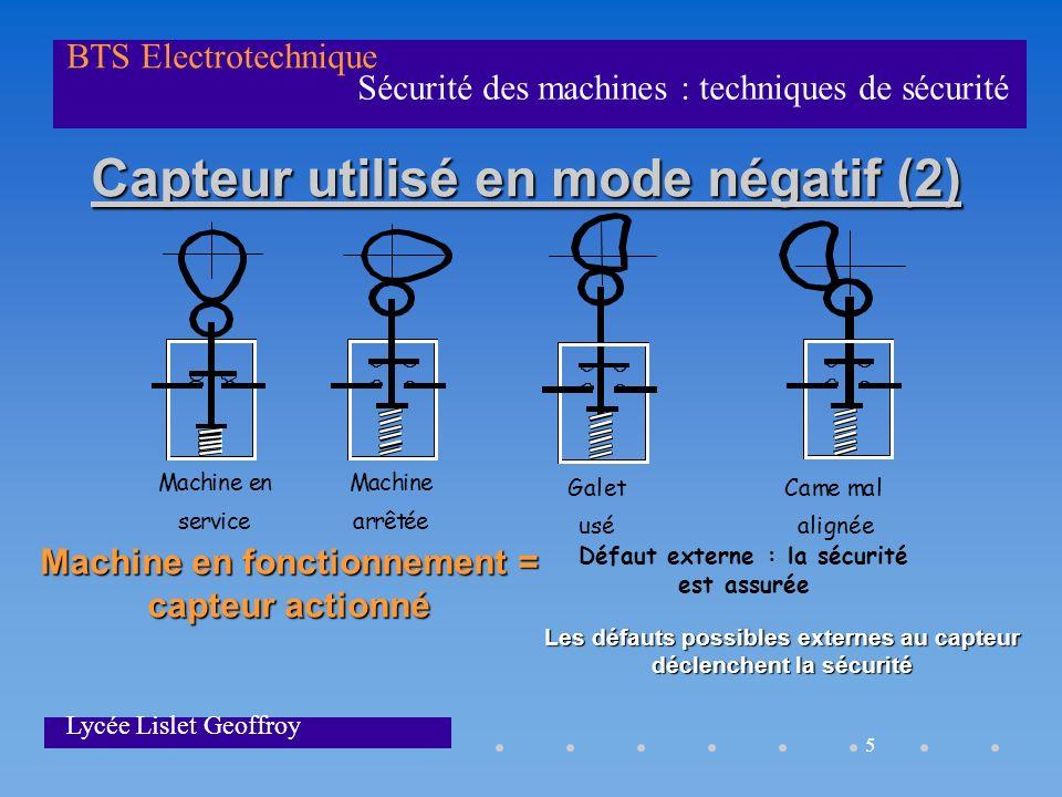 5 Sécurité des machines : techniques de sécurité BTS Electrotechnique Lycée Lislet Geoffroy Capteur utilisé en mode négatif (2) Capteur utilisé en mod