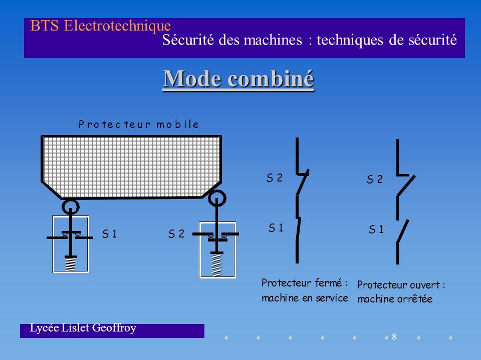 8 Sécurité des machines : techniques de sécurité BTS Electrotechnique Lycée Lislet Geoffroy Mode combiné Protecteurmobile S1S2 S2 S1 S2 S1 Protecteurf