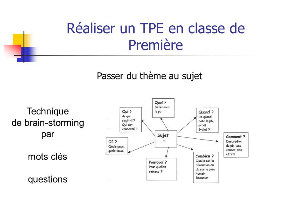 Réaliser un TPE en classe de Première Passer du thème au sujet Des fiches pédagogiques sont à la disposition des enseignants et des élèves (?) avec de