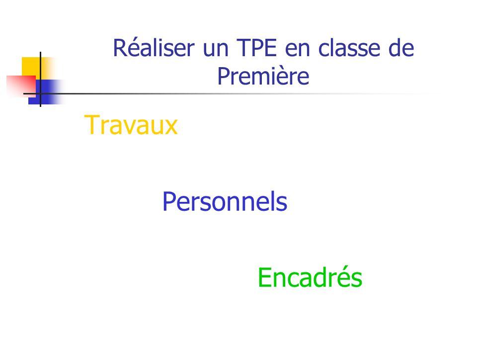 Réaliser un TPE en classe de Première Document proposé lors des journées danimation académiques en octobre 2006 (mise à jour septembre 2008) Strasbour