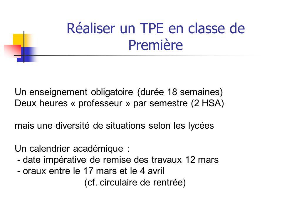 Réaliser un TPE en classe de Première Deuxième partie : Construire le TPE en accompagnant lélève